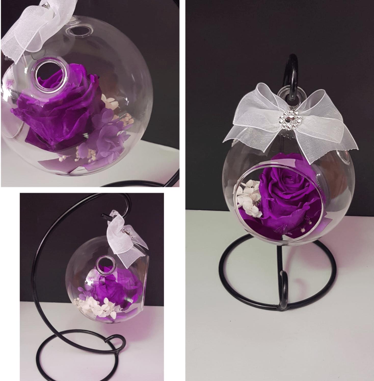 bola de plastico con rosas preservadas.jpeg bola de plastico con rosas preservadas - Bola de cristal decorativa con rosa preservada  - Bola de cristal decorativa con rosa preservada