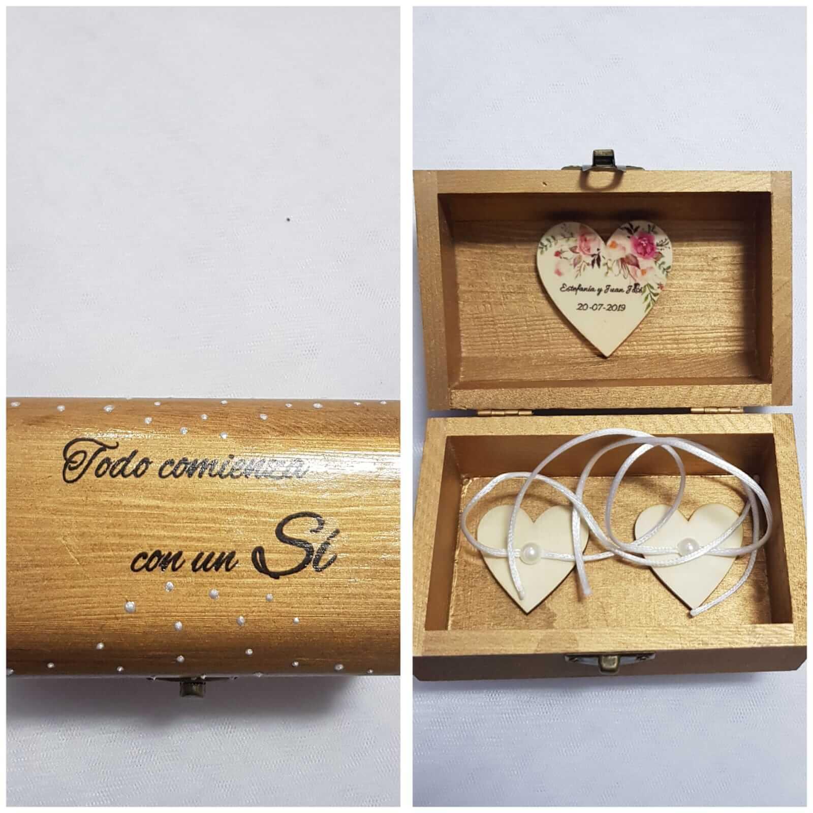 Caja porta alianzas de madera