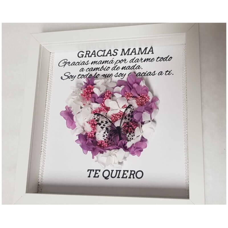 Cuadro personalizado realizado con flores preservadas