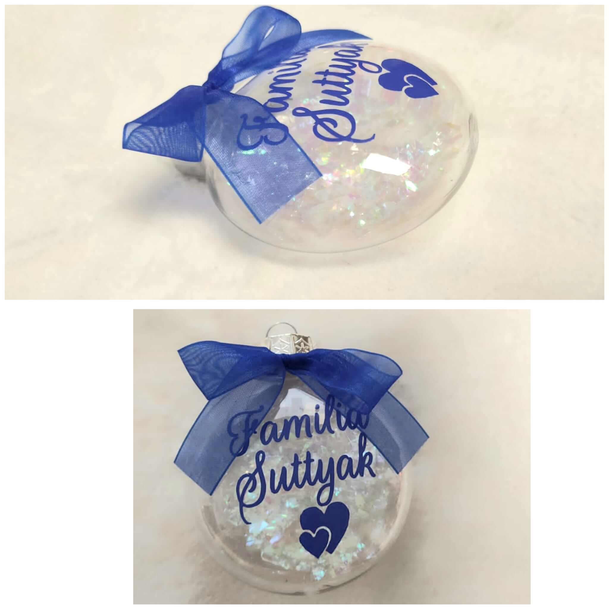 Bola de navidad palana transparente personalizada